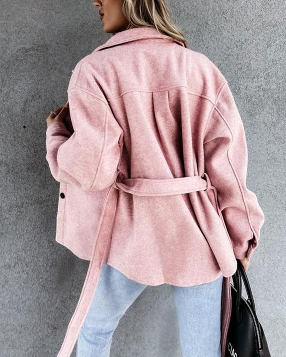 Solid Button Up Flap Pocket Collar Coat gallery 5