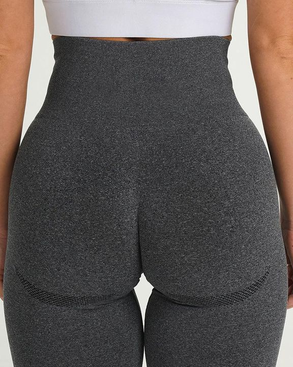 Solid Wide Waistband Contrast Stitch Sports Leggings  gallery 9
