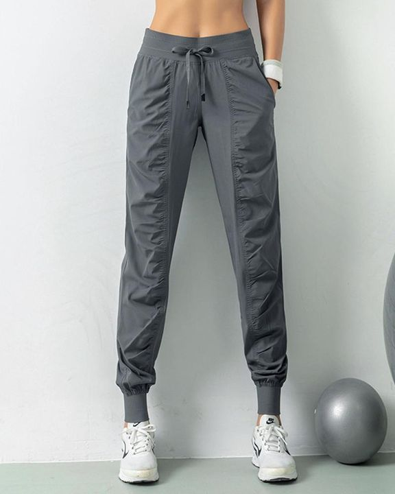 Quick Dry Drawstring Waist Ruched Front Sports Pants gallery 15