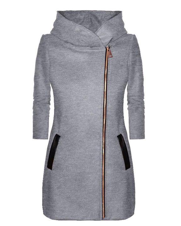 Zip Up Front Pocket Detail Hooded Coat gallery 4
