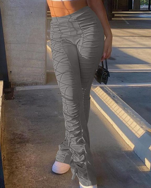 Solid Ruched Flare Leg Stacked Pants gallery 2