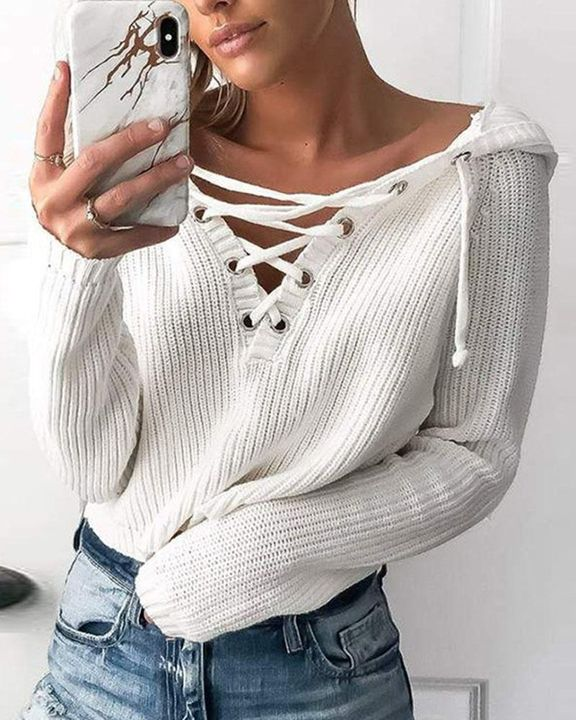 Eyelet Lace Up Ribbed Hooded Sweater gallery 1