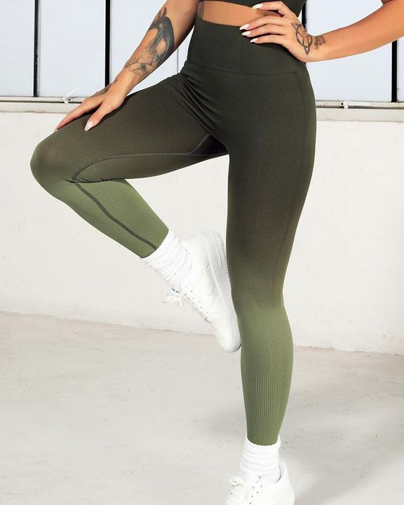 Ombre Wide Waistband Butt Lifting Sports Leggings gallery 5