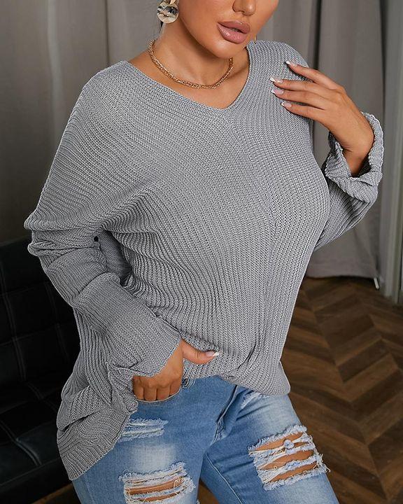 Chunky Knit V Neck Drop Shoulder Sweater gallery 1