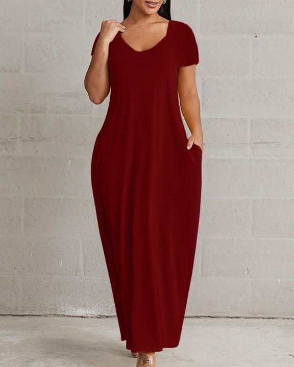 Solid Pocket Detail Maxi Dress gallery 1