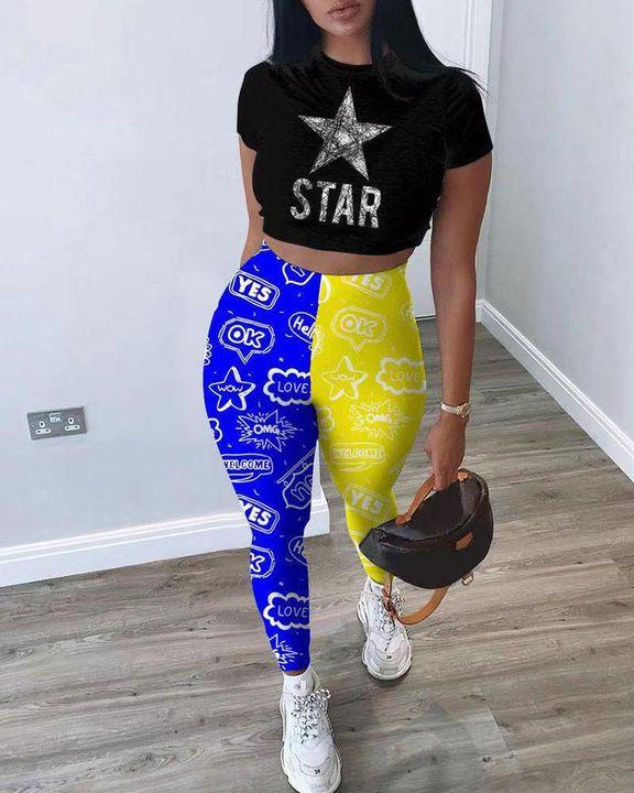 Colorblock Strar & Letter Print Crop Top & Pants Set gallery 1
