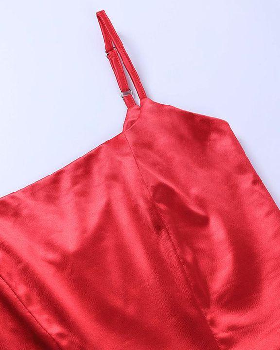 Satin Split Thigh Wrap Midi Dress gallery 7