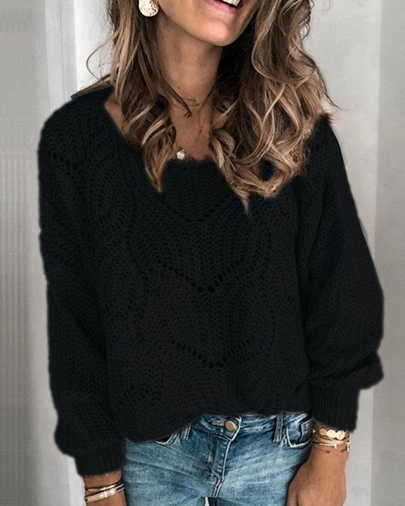 Solid Rib-Knit Hollow Out Sweater gallery 2