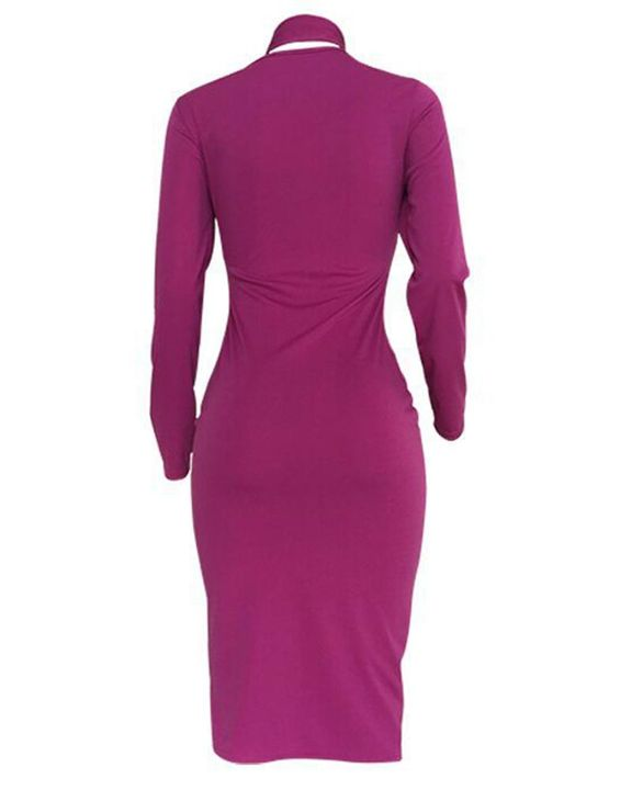Solid Cut Out Tie Front Long Sleeve Midi Dress gallery 4