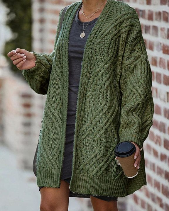 Cable Knit Open Front Drop Shoulder Cardigan gallery 4