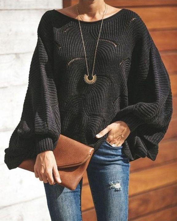Open Knit Lantern Sleeve Scallop Hem Oversized Sweater gallery 2