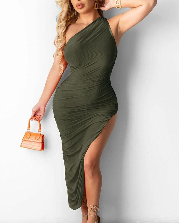 Solid One Shoulder Split Thigh Ruched Dress gallery 3