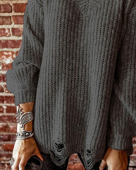 Chunky Knit Drop Bishop Sleeve Sweater gallery 5