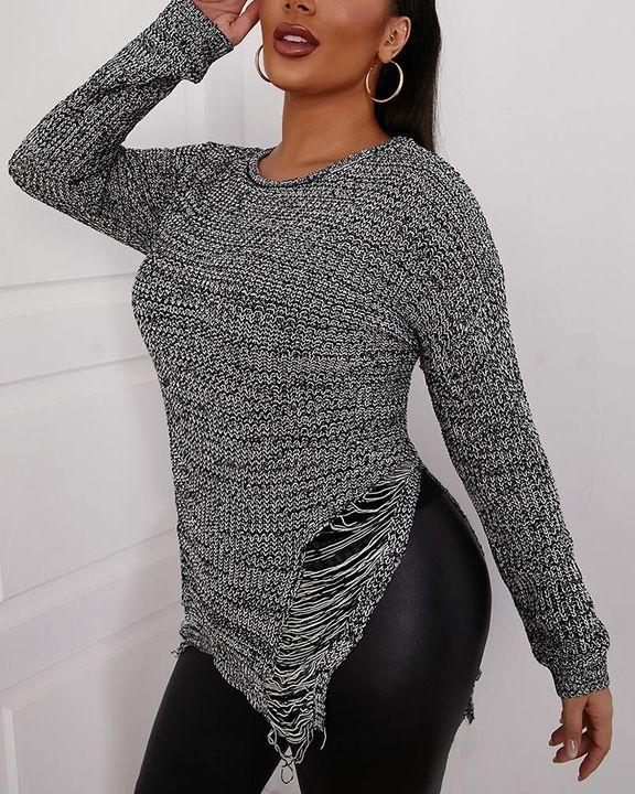 Split Hem Ripped Form Fitting Sweater gallery 1
