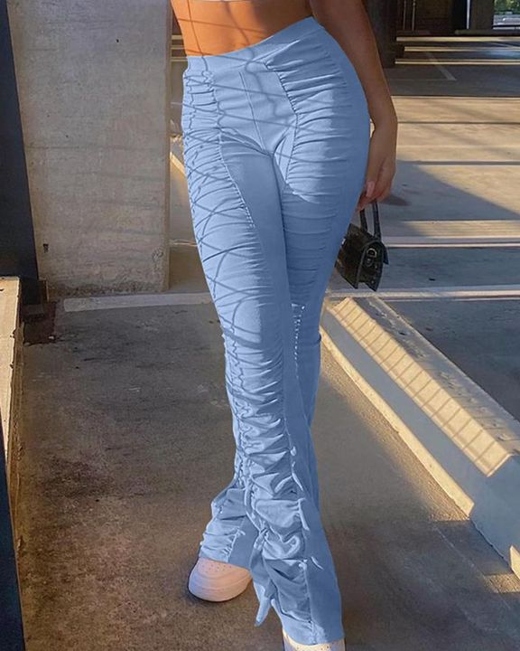 Solid Ruched Flare Leg Stacked Pants gallery 6