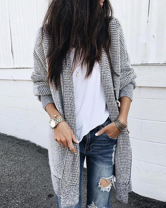 Plaid Open Front Batwing Sleeve Cardigan gallery 2