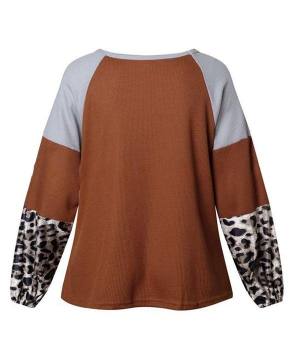 Cheetah Panel Colorblock Twist Front Drop Bishop Sleeve Sweater gallery 6