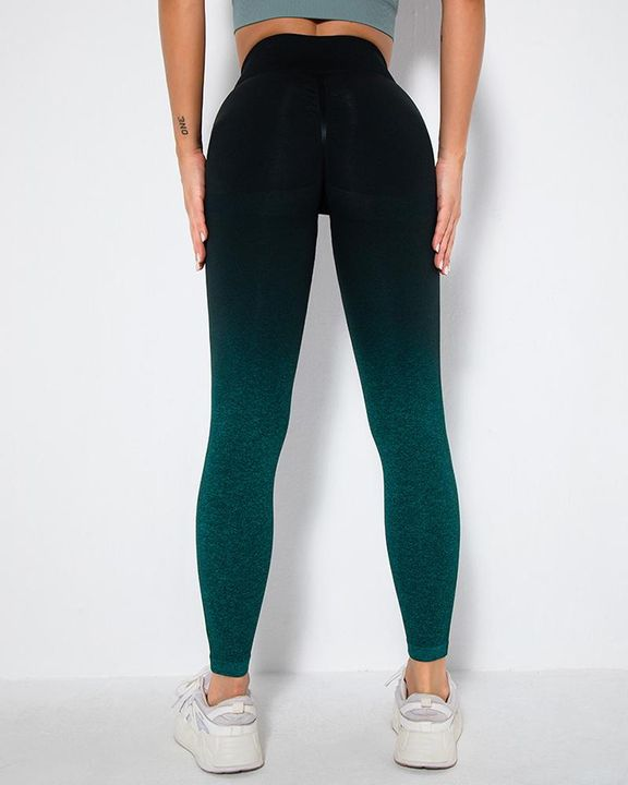 Ombre Space Dye Seamless Butt Lifting Sports Leggings gallery 9