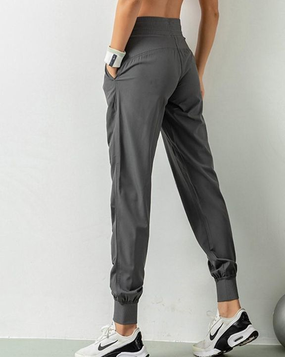 Quick Dry Drawstring Waist Ruched Front Sports Pants gallery 17
