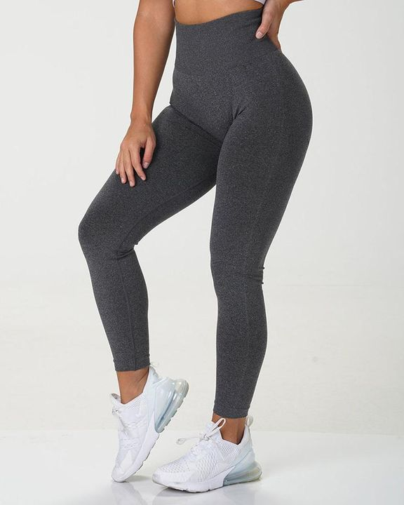 Solid Wide Waistband Contrast Stitch Sports Leggings  gallery 2