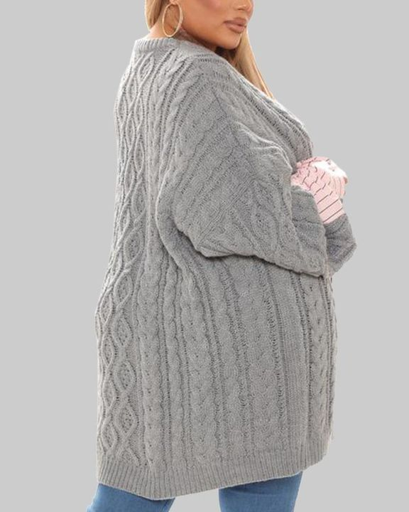 Colorblock & Striped Cable Knit Drop Shoulder Sweater gallery 3