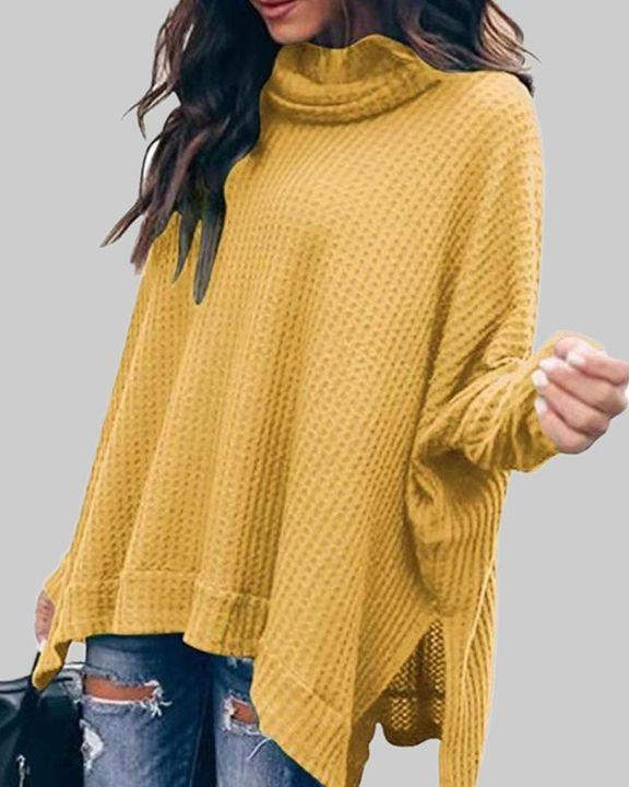 Solid Split Hem High Neck Sweater gallery 1