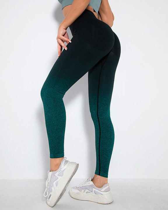 Ombre Space Dye Seamless Butt Lifting Sports Leggings gallery 7