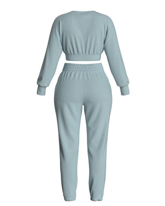 Solid Ribbed Long Sleeve Crop Top & Pants Set gallery 20