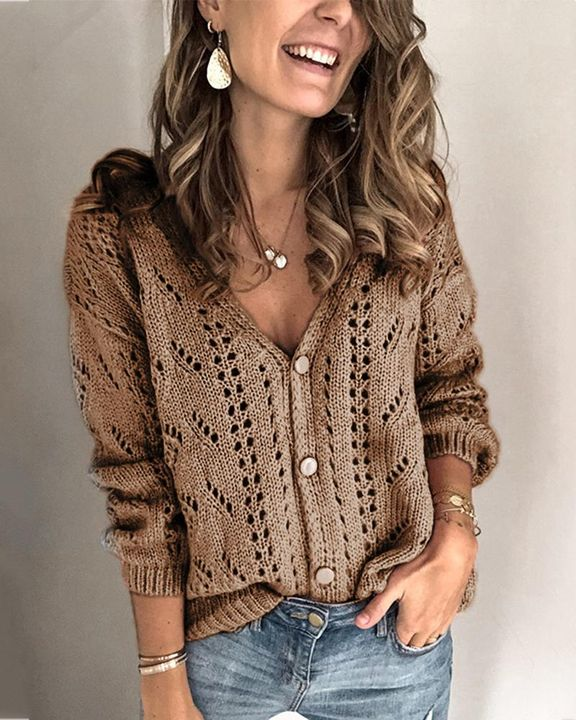 Pointelle Knit Button Up Drop Shoulder Sweater gallery 6