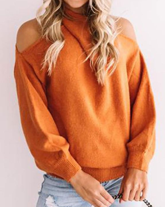 Solid Cold Shoulder Rib Knit Sweater gallery 4