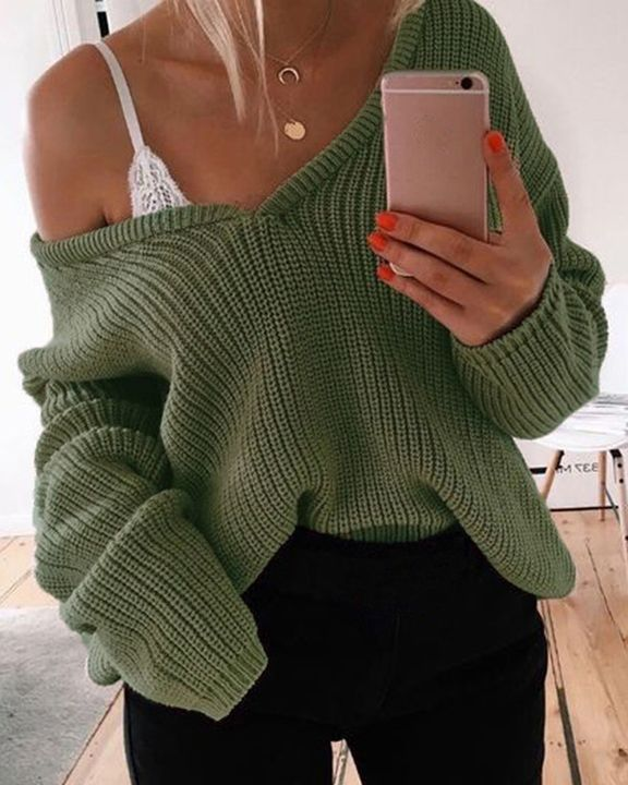 Chunky Knit Drop Shoulder Sweater gallery 4