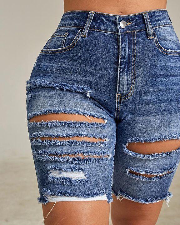 Solid Ripped Slant Pocket Zip Fly Denim Shorts gallery 5