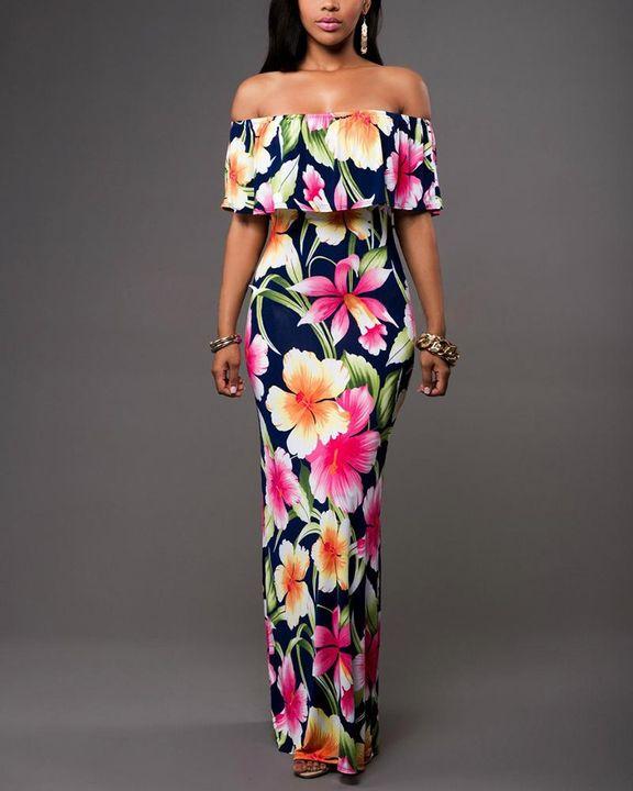 Floral Print Ruffle Trim Off Shoulder Maxi Dress gallery 1