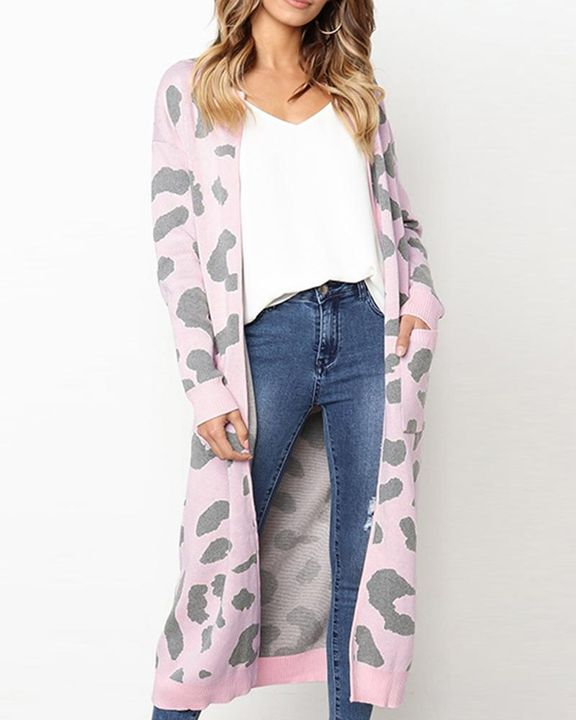 Leopard Print Patch Pocket Open Front Cardigan gallery 4