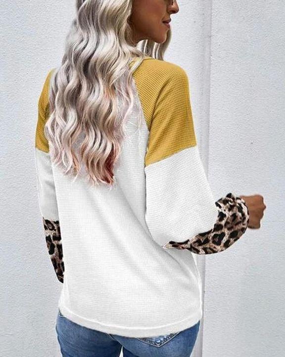 Cheetah Panel Colorblock Twist Front Drop Bishop Sleeve Sweater gallery 9