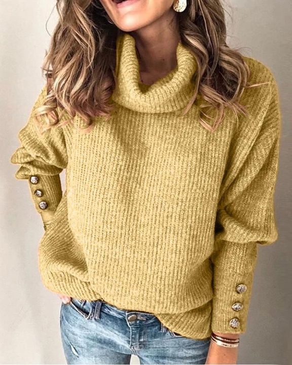 Solid Button Detail Ribbed High Neck Sweater gallery 7