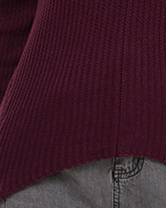 Solid Ribbed Knit Drop Shoulder Sweater gallery 5