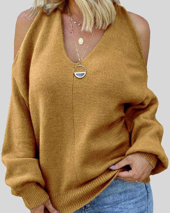 Solid Cold Shoulder Rib Knit Sweater gallery 5