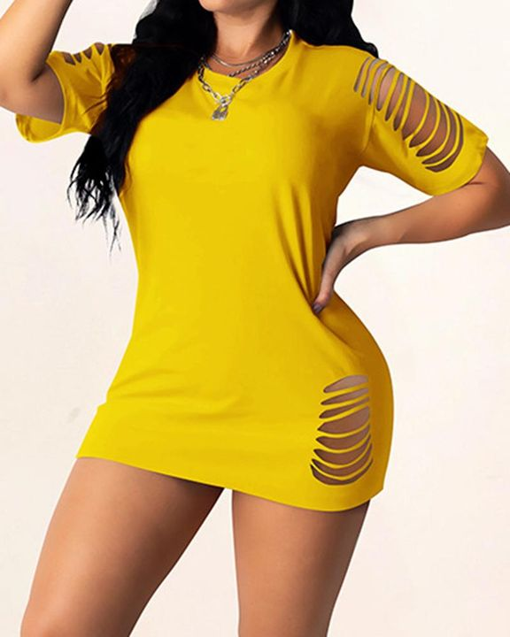 Solid Ripped Bodycon Mini Dress gallery 2