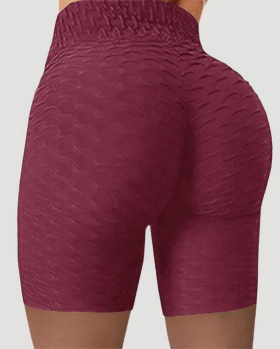 Solid Textured Wide Waistband Butt Lifting Sports Shorts gallery 6