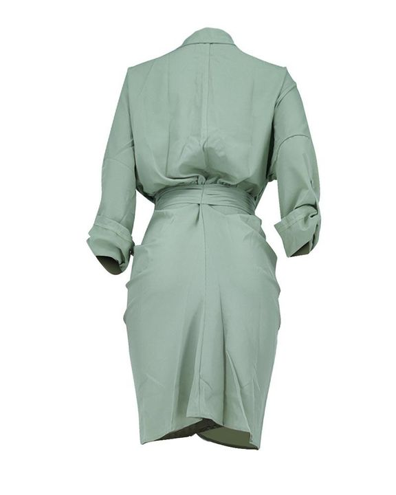Solid Button Up Ruched Belted Knee Length Dress gallery 8