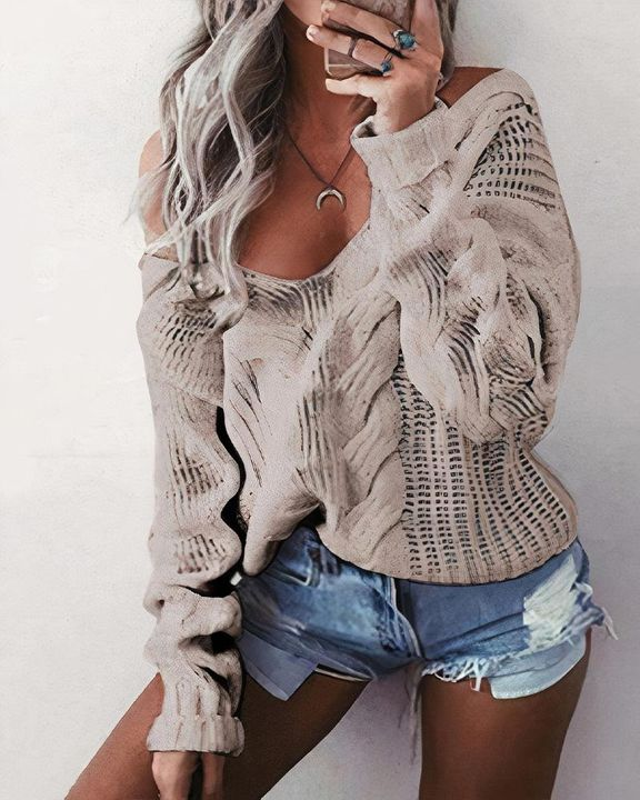 Mixed Knit Drop Shoulder Sweater gallery 6