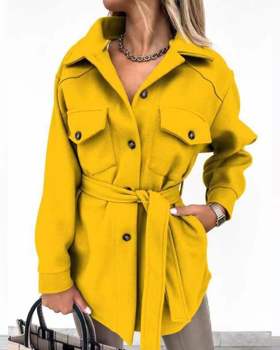 Self-Belted Flap Pocket Button Up Coat gallery 6