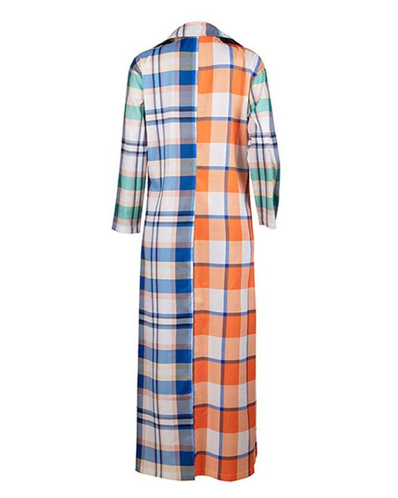 Plaid Button Front Long Sleeve Coat gallery 5