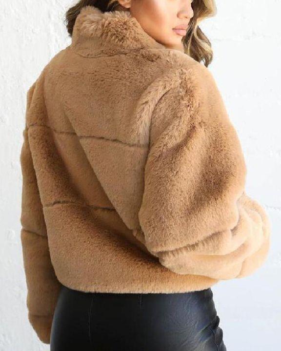 Solid Zip Up Collar Teddy Jacket gallery 7