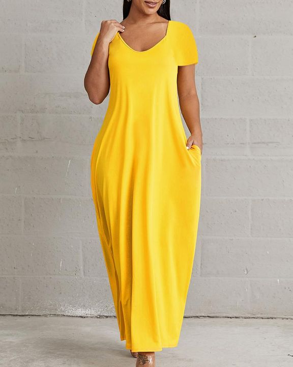 Solid Pocket Detail Maxi Dress gallery 2