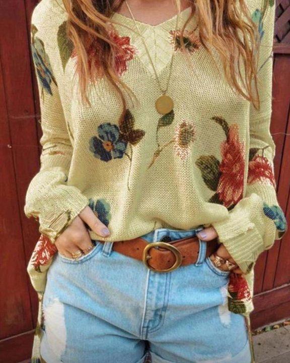 Floral Print Split Hem Drop Shoulder Sweater gallery 1