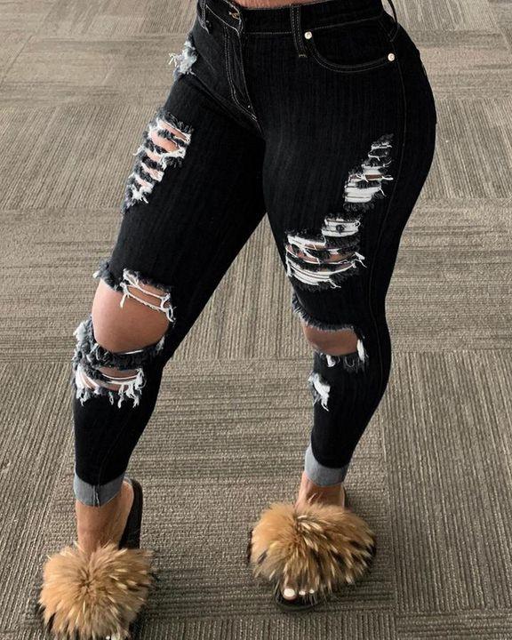 Plus Distressed Raw Hem Skinny Jeans gallery 2