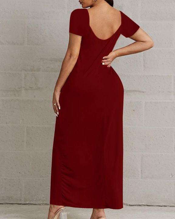 Solid Pocket Detail Maxi Dress gallery 8