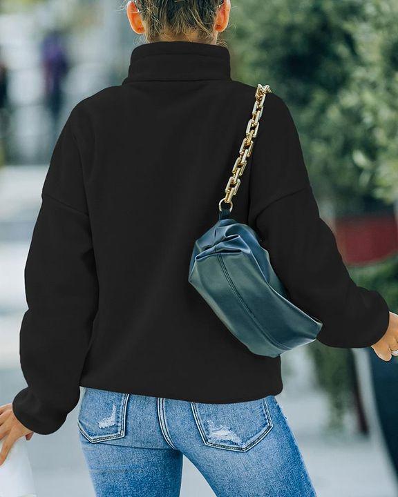 Solid Zip Up Split Hem Stand Collar Jacket gallery 9